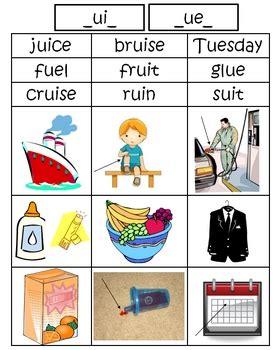 ue pattern words long u ui ue picture word sort by lauren s b tpt