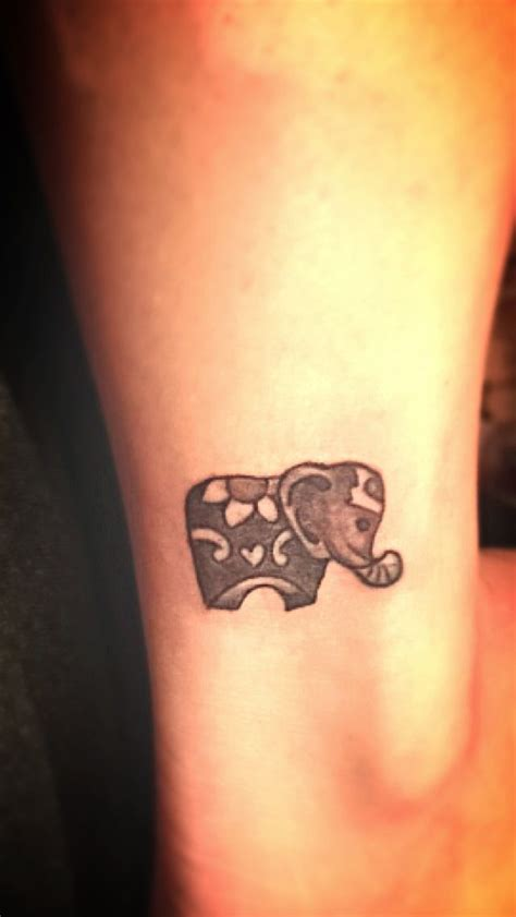 elephant ankle tattoo small elephant on right ankle