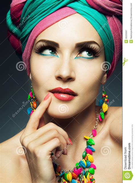 beautiful lady beautiful lady with colored turban stock image image