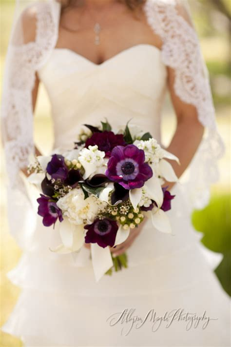anemone bouquet purple anemones make this plum and white bouquet perfect
