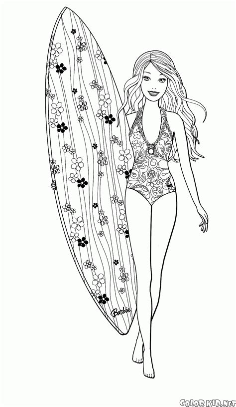 barbie surfer coloring pages coloring page barbie is engaged in surfing