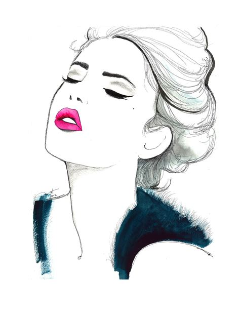 fashion illustration drawing faces print from original watercolor and pen fashion illustration