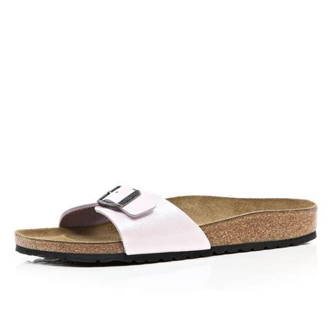 single sandal river island pink birkenstock single mule sandals in