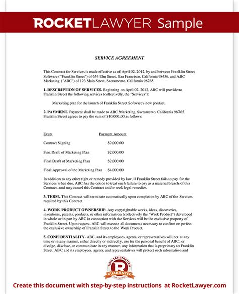 agreement of services template service agreement contract template with sle