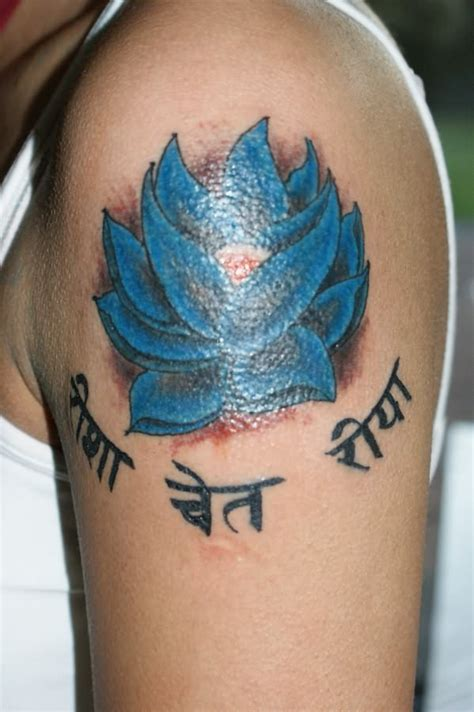 hindu writing tattoo designs blue lotus with hindu writings tattooimages biz