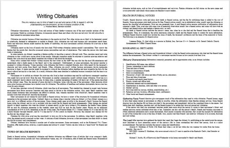 obituary guide template obituary guide template 28 images sle funeral obituary