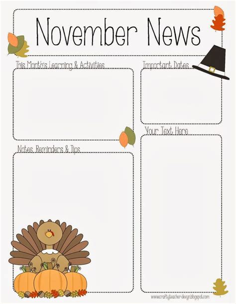 the crafty teacher november newsletter for preschool pre