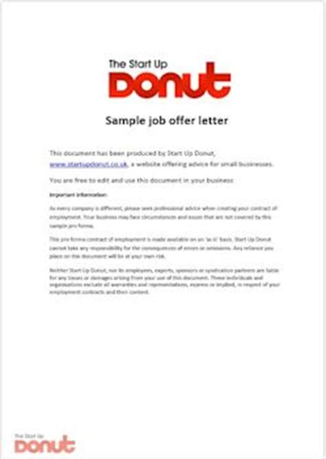 Employment Offer Letter Sle Uk Offer Letter Template Startup Donut