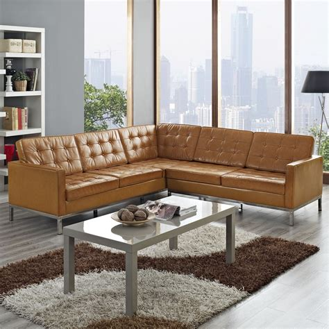 light brown leather corner sofa light brown leather corner sectional with rectangle