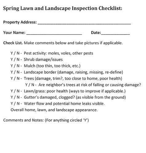 Landscape Architecture Quality Checklist Clean Up Lawn Care Guide