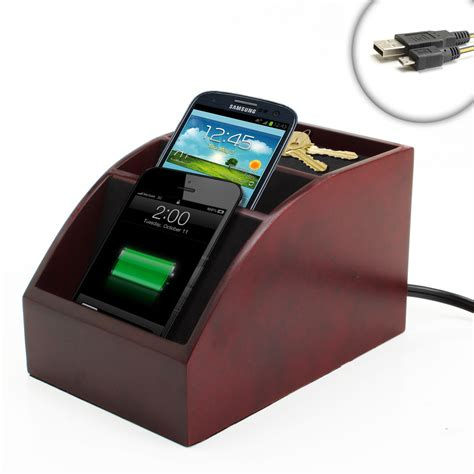 phone charger organizer spacesaver wooden charging station organizer for