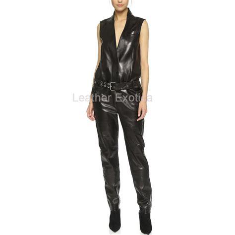 deep neck designer style sleeveless leather jumpsuit