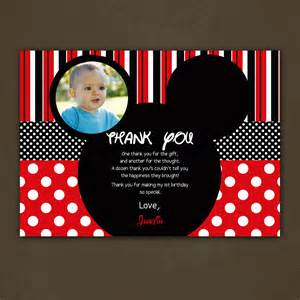 mickey mouse thank you card birthday by pinkskyprintables on etsy