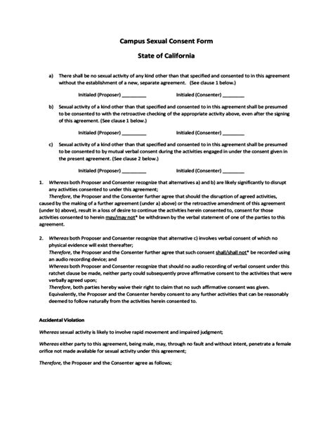 cus sexual consent form california free download
