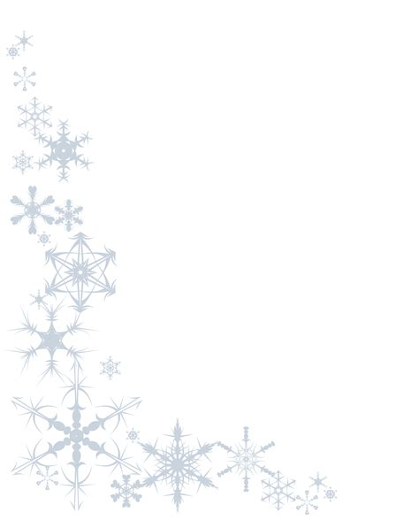 free template invitation card snowflakes snowflake clipart page border pencil and in color