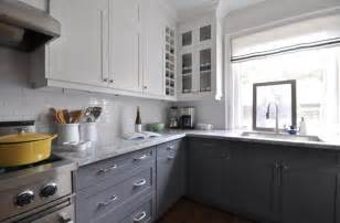 white and grey kitchen cabinets white upper cabinets dark lower cabinets contemporary kitchen meredith heron design