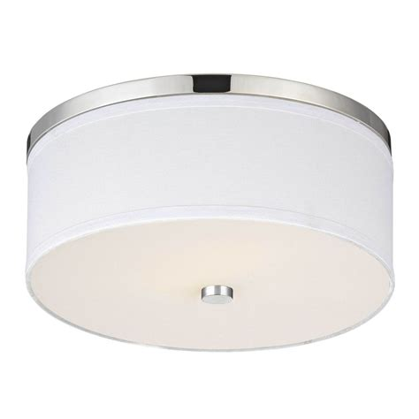 Polished Chrome Ceiling Light With White Drum Shade Ebay White Drum Ceiling Light