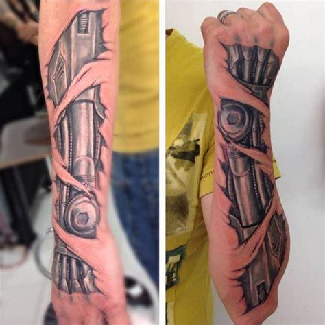 biomechanical tattoo artists phoenix biomechanical forearm by mike tarquino colour 3d
