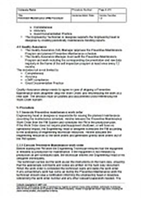 Preventive Maintenance Pm Procedure Standard Operation Procedures Maintenance Sop Template
