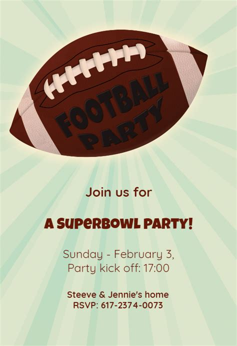 football themed birthday ecards football superbowl party free printable party invitation