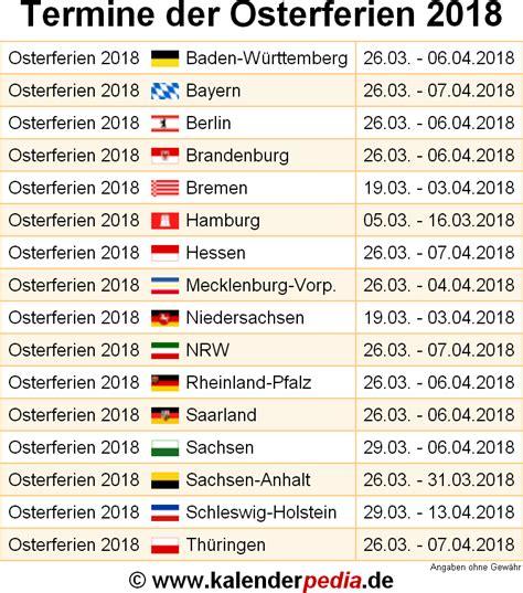 osterferien wann osterferien 2018 und 2019 in deutschland alle bundesl 228 nder