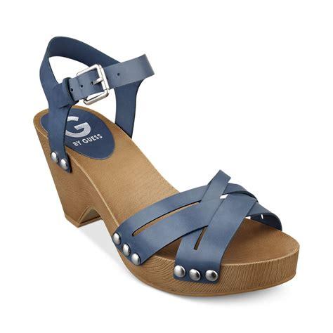 platform clog sandals g by guess womens jackal platform clog sandals in blue lyst