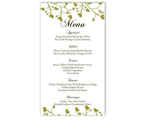 wedding menu template diy menu card template editable text word file instant green menu