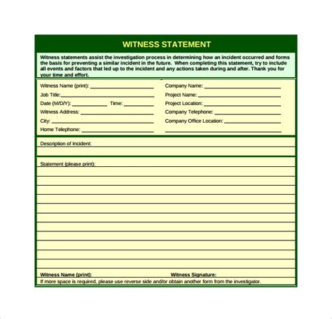witness statement template witness statement template 12 free documents