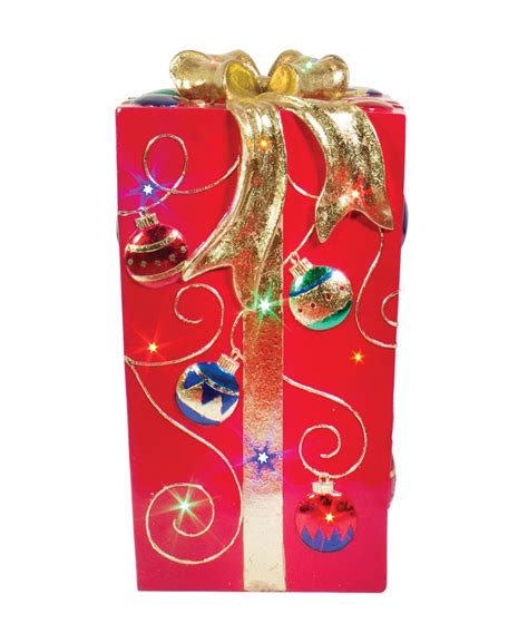 box fiber ornamen lit fiberglass gift box with ornament design
