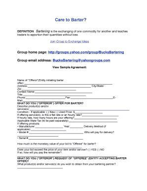 barter agreement template barter agreement template fill printable