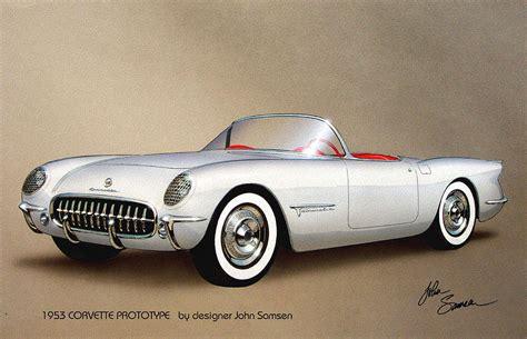 vintage corvette drawing 1953 corvette classic vintage sports car automotive art