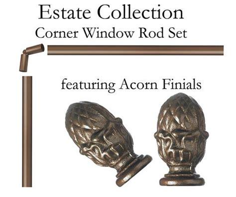 corner window curtain rod set custom corner window 1 quot iron curtain rod featuring acorn