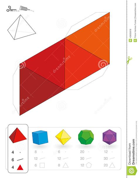 How To Make 3 Dimensional Shapes With Paper - paper model tetrahedron stock vector image 43605818
