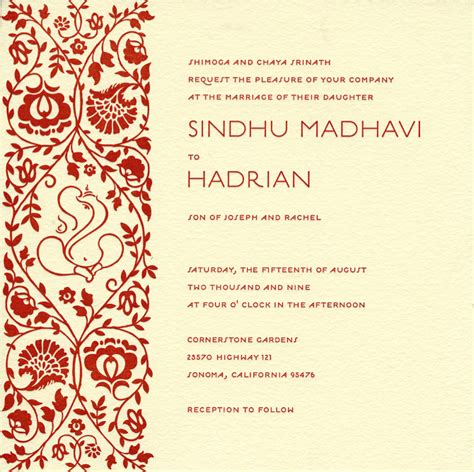 hindu wedding invitation templates wedding invitation wording hindu wedding