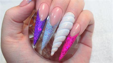 Acryl Nails by 3d Unicorn Horn Unicorn Land Acrylic Nails Tutorial