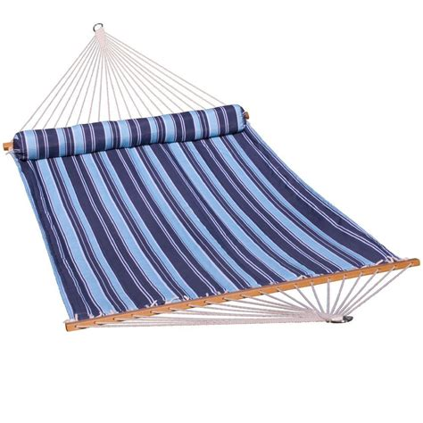 Algoma Hammock Algoma 13 Ft Quilted Reversible Hammock In Blue Stripe
