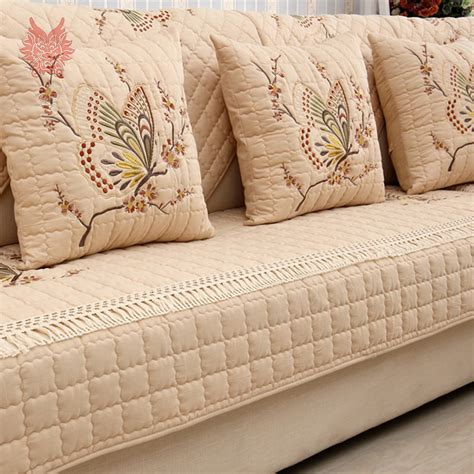 Quilted Slipcovers by Pastoral Style Luxury Butterfly Embroidery 100 Cotton