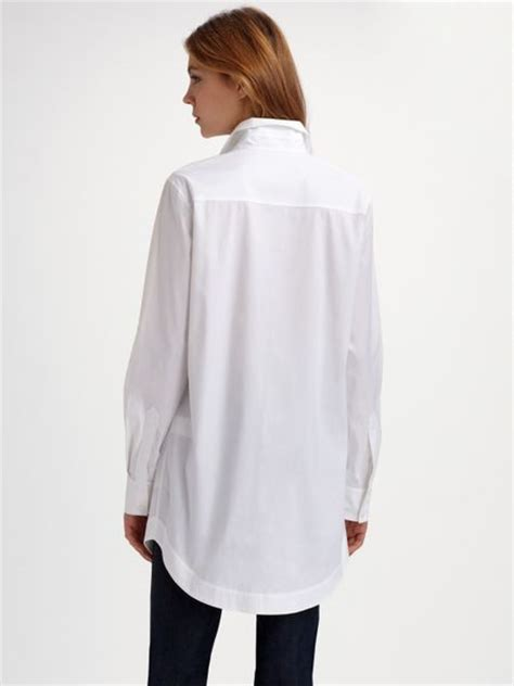Tunic Blouse White lafayette 148 new york stretch cotton tunic blouse in