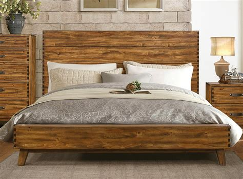 rustic platform beds rustic platform bed frame bedroom natural stained walnut