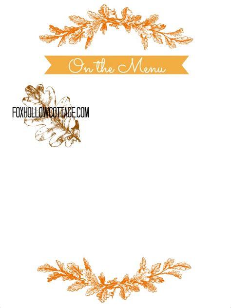 Happy Cottage Menu Thanksgiving Free Printable Series Menu Board Fox
