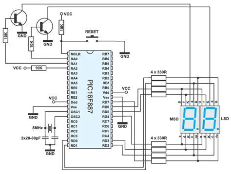 led multiplexing resistor two digit led counter multiplexing circuit diagram knowledge circuit diagram and