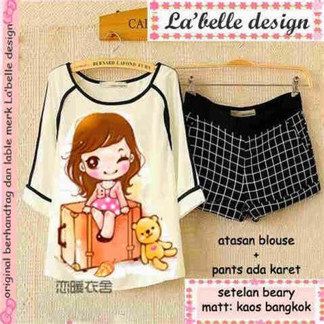 Atasan Top Blouse Set Kulot Motif Marbella Set supplier baju korea la design juni 2014