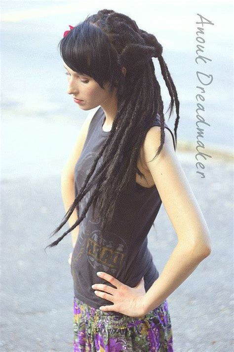 dreadlocks and weave combined together for a bang hairstyle crocheted synthetic dread extensions knotty natural look