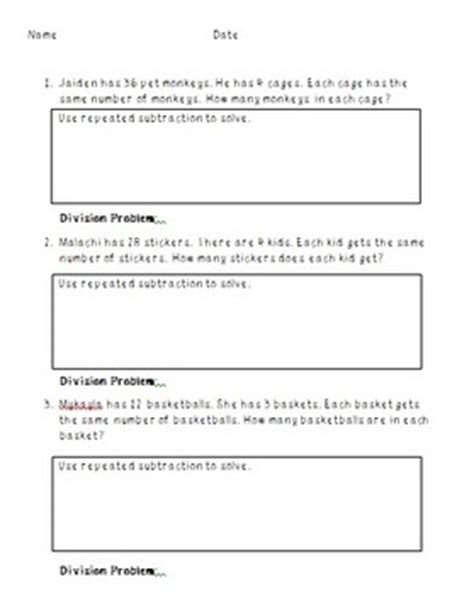 Division As Repeated Subtraction Worksheets Free by Repeated Subtraction Division Word Problems By Mrs