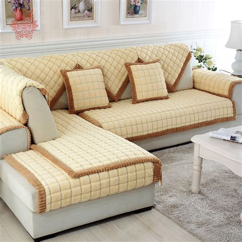 covering a sectional couch aliexpress com buy coffee beige plaid quilting sofa