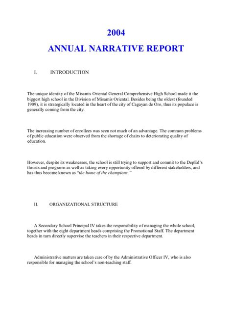 sle of narrative report for students annual narrative report a sle teachers educational