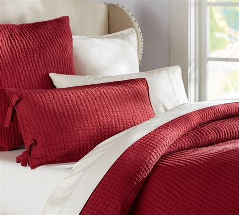 pottery barn quilts and coverlets pick stitch quilt cardinal red contemporary quilts
