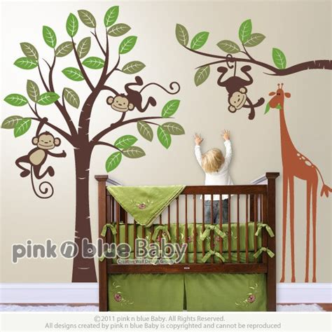 Items Similar To Wall Decals Monkeys And Giraffe Monkey Curtains Nursery