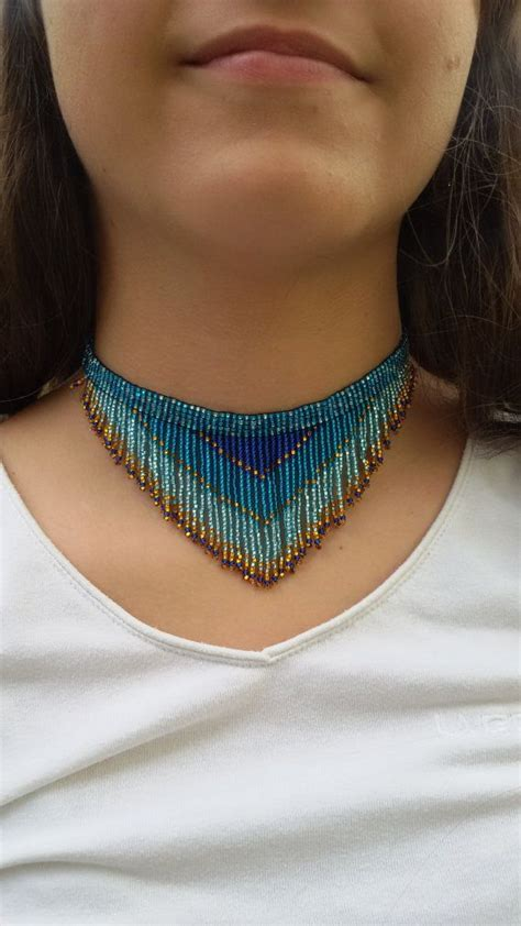 Bead Choker fringe necklace necklace seed bead choker necklace sea