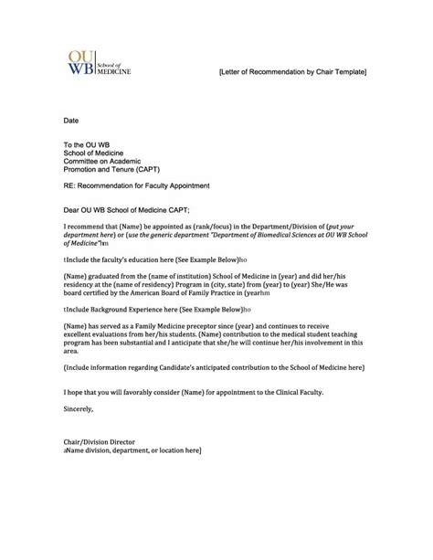 Letter Of Recommendation Template For 43 Free Letter Of Recommendation Templates Sles